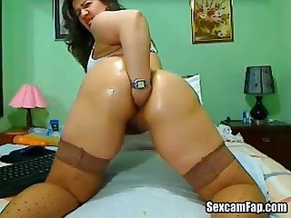 Colombian Mature Fucking Her Ass With Dildo
