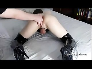 Fingered Cd slut reaches orgasm comma shemale porn ashemaletube period com period mp4