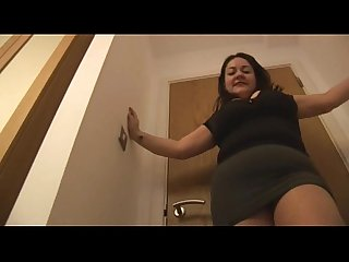 Big tits mature in crotchless pantyhose masturbates