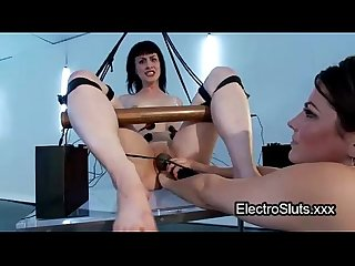 Bound in Swing babe wired strapon cock fucked