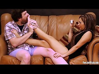 Footjob virgin sofia gets her feet played with