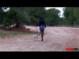 Black babe with perfect body fucked in the ass in the woods