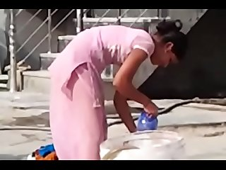 Indian Desi hor Randi village schoolgirl washing