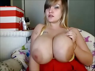 Super big coconut bbw teasing with oil