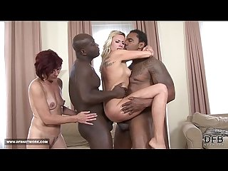 Two mifls fuck two black guys swallow their cum after interracial sex