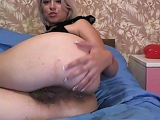 Fingering hairy asshole and licking fingers on webcam - more on CAMSBARN.COM