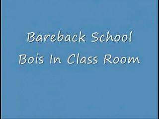 Bareback boys in classroom