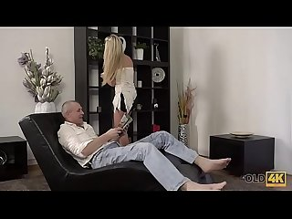 OLD4K. Beautiful girl and old dad have amazing sex on small daybed