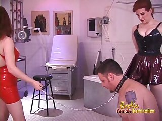 Two stunning redhead dominas and one really horny and hung dude
