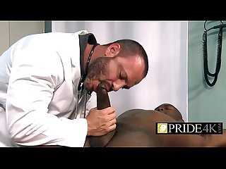 Kinky gay doctor checking royal black rod