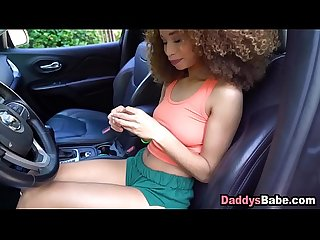Father fingering ebony teen daughter in her car