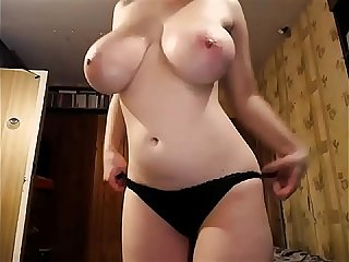 The most awesome pair of tits you ll see today excl naturally Busty Girl strips and masturbates peri