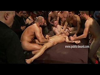 Horde of gay cocks hard around sex slave