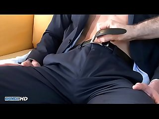 straight str8 Salesman in suit trousers gets wanked his huge cock by a guy