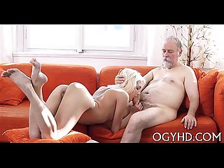 Cute young gal fucked by old man