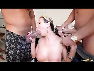 Latina shemale double teamed