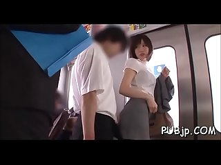 Inviting playgirl groped and fucked by lascivious passengers