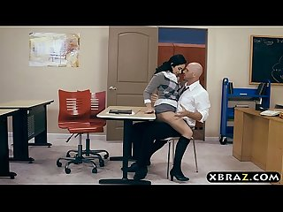 Hairy pussy schoolgirl fucks her teacher during Detention