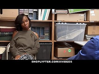 Shoplyfter cute ebony teen recorded store fuck