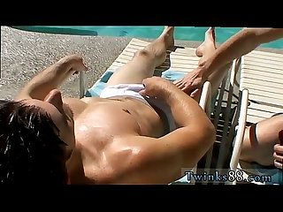 Two cock men gay porn zack mike jackin by the pool