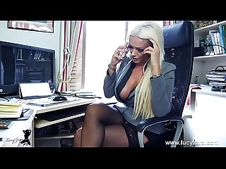 Blonde office boss panties nylons tease