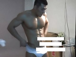 Meili series muscular jock hunk showing his hot body behind the scene