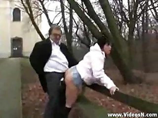 Old man fucks dirty teen girl in the public park