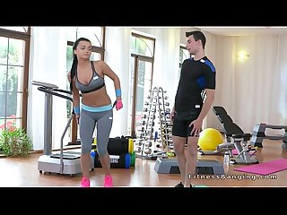 Perfect ass fit teen fucks her coach in the gym