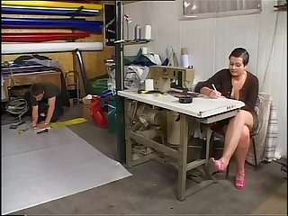 Sexy seemstress banged doggystyle in her laboratory excl