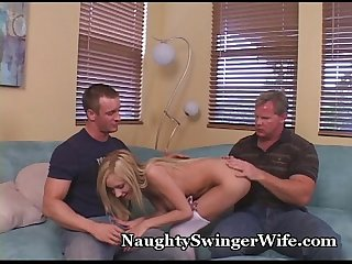 Thick cocks fill petite swinger
