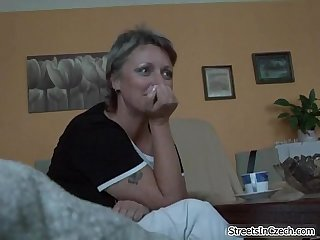 Horny mature mom sucking dick for some