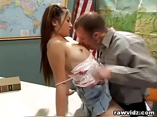 Naughty asian college Girl seduces perv prof in class