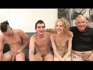 Angelina gets three cocks!! A gangbang with a Polish nympho while another girl watches