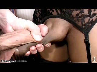 Black tranny with blonde hair stripping wanking and sucking