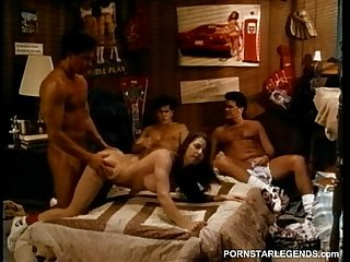 3 guys take turns fucking college slut