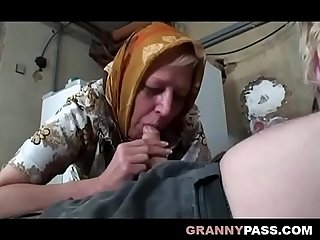 Busty granny share grandpa s cock with a teen