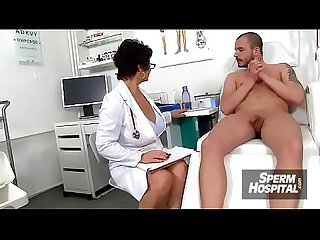 Elder uniform cougar Greta gets her big naturals cum covered