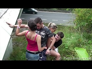 Cum on huge krystal swift tits in public sex 2 couples foursome orgy by highway