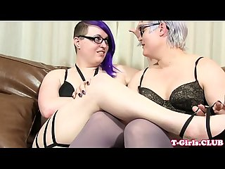 Chubby twosome spex tgirls raw fucking