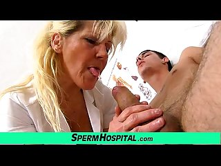 Grandma with boy handjob at clinic feat granny hanna