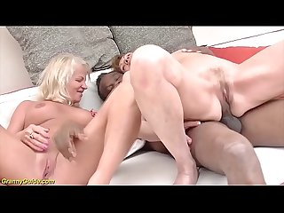 Crazy 71 and 82 years old grannies rough interracial anal banged