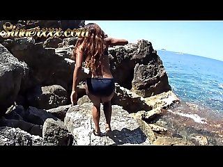 Outdoor Blowjob on side of a CLIFF in Croatia - Kiki Minaj