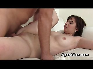 Fake agent gives creampie to brunette