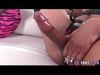 Ebony ladyboy shoot cum