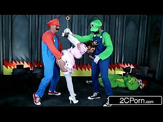 Jerk that joy stick super Mario bros get busy with princess brooklyn chase