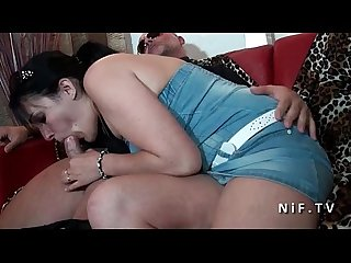 Chubby french housewife with milky breast banged in front of her husband