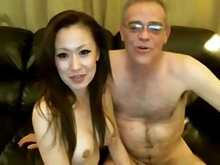 Old Man and Chinese Girl on Webcam
