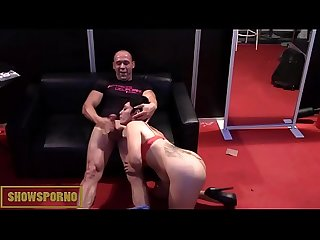 Spanish pornstars licking blowing and fucking in stand