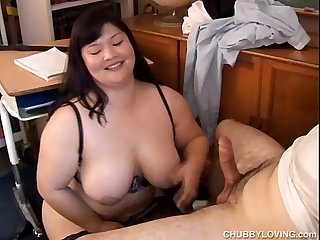 Beautiful big tits asian BBW loves the taste of cum
