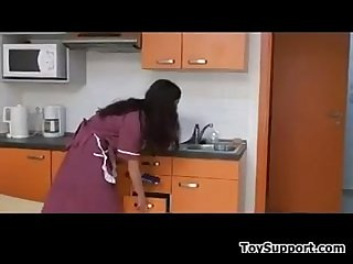 Hairy woman being fucked in A kitchen